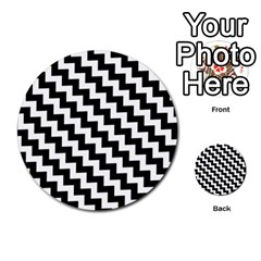 Black And White Zigzag Multi-purpose Cards (Round)