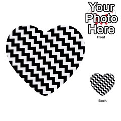 Black And White Zigzag Multi-purpose Cards (Heart)