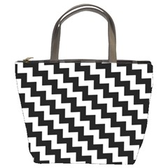 Black And White Zigzag Bucket Bags