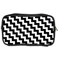 Black And White Zigzag Toiletries Bags 2 Side