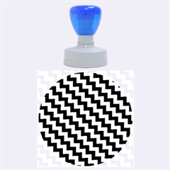 Black And White Zigzag Rubber Round Stamps (large)