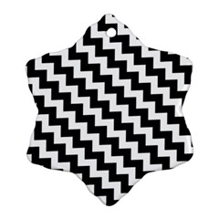 Black And White Zigzag Snowflake Ornament (2-Side)