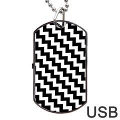 Black And White Zigzag Dog Tag Usb Flash (two Sides)