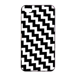 Black And White Zigzag Apple Iphone 4/4s Seamless Case (black)