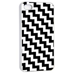 Black And White Zigzag Apple iPhone 4/4s Seamless Case (White)