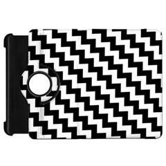 Black And White Zigzag Kindle Fire Hd Flip 360 Case