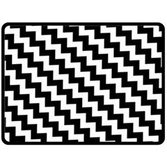 Black And White Zigzag Double Sided Fleece Blanket (large)