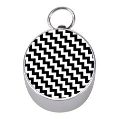 Black And White Zigzag Mini Silver Compasses