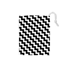 Black And White Zigzag Drawstring Pouches (Small)
