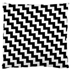 Black And White Zigzag Large Flano Cushion Cases (Two Sides)