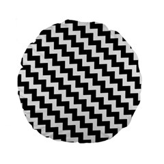 Black And White Zigzag Standard 15  Premium Flano Round Cushions