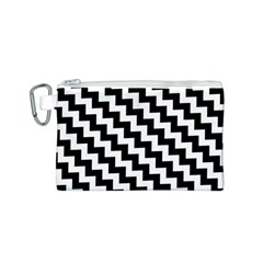 Black And White Zigzag Canvas Cosmetic Bag (S)