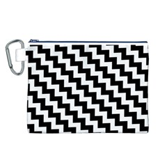 Black And White Zigzag Canvas Cosmetic Bag (l)