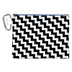Black And White Zigzag Canvas Cosmetic Bag (XXL)