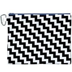 Black And White Zigzag Canvas Cosmetic Bag (xxxl)