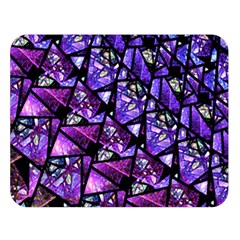 Blue purple Shattered Glass Double Sided Flano Blanket (Large)