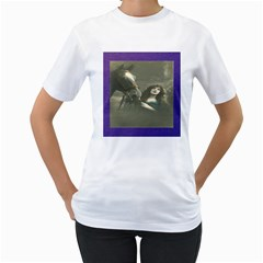 Vintage Woman With Horse Women s T Shirt (white) (two Sided)