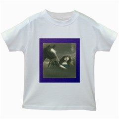 Vintage Woman With Horse Kids White T-Shirts