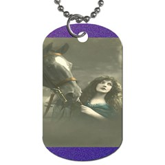 Vintage Woman With Horse Dog Tag (one Side)