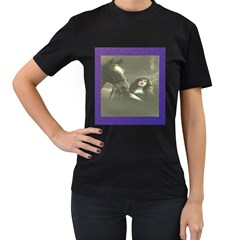 Vintage Woman With Horse Women s T-Shirt (Black) (Two Sided)