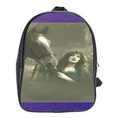 Vintage Woman With Horse School Bags(large)