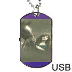 Vintage Woman With Horse Dog Tag USB Flash (One Side)