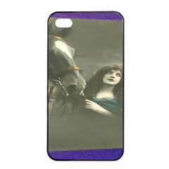 Vintage Woman With Horse Apple Iphone 4/4s Seamless Case (black)