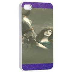 Vintage Woman With Horse Apple iPhone 4/4s Seamless Case (White)
