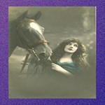 Vintage Woman With Horse Best Friends 3D Greeting Card (8x4)  Inside