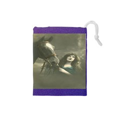 Vintage Woman With Horse Drawstring Pouches (small)