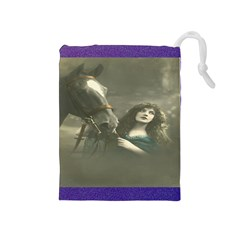 Vintage Woman With Horse Drawstring Pouches (Medium)