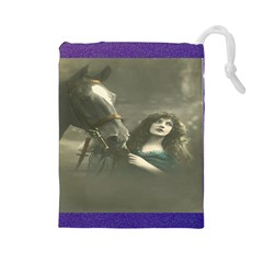 Vintage Woman With Horse Drawstring Pouches (Large)