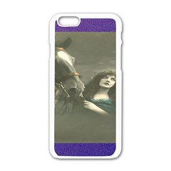Vintage Woman With Horse Apple iPhone 6 White Enamel Case
