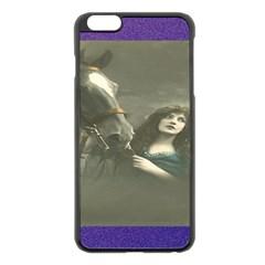 Vintage Woman With Horse Apple iPhone 6 Plus Black Enamel Case