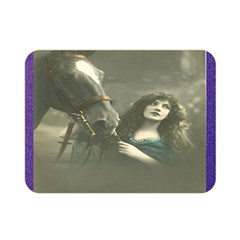 Vintage Woman With Horse Double Sided Flano Blanket (Mini)
