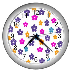 Candy Flowers Wall Clocks (silver)