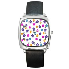 Candy Flowers Square Metal Watches