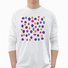Candy Flowers White Long Sleeve T-Shirts
