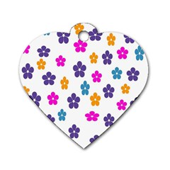 Candy Flowers Dog Tag Heart (one Side)