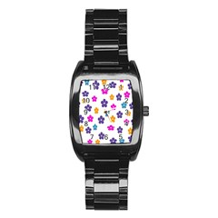Candy Flowers Stainless Steel Barrel Watch