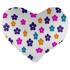 Candy Flowers Large 19  Premium Flano Heart Shape Cushions