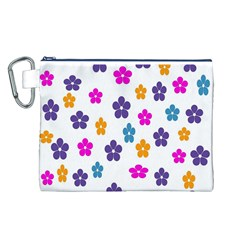 Candy Flowers Canvas Cosmetic Bag (L)