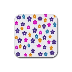 Candy Flowers Rubber Coaster (square)