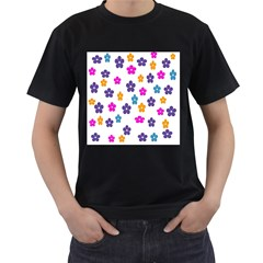 Candy Flowers Men s T-Shirt (Black) (Two Sided)