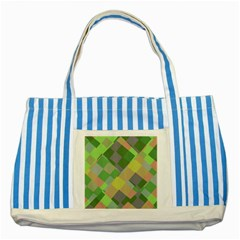 Squares And Other Shapes Striped Blue Tote Bag