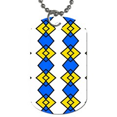 Blue Yellow Rhombus Pattern Dog Tag (one Side)