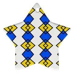 Blue Yellow Rhombus Pattern Star Ornament (two Sides)