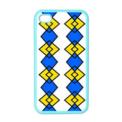 Blue Yellow Rhombus Pattern Apple Iphone 4 Case (color)