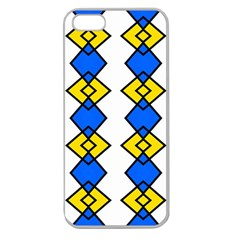 Blue Yellow Rhombus Pattern Apple Seamless Iphone 5 Case (clear)
