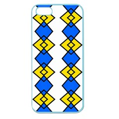 Blue Yellow Rhombus Pattern Apple Seamless Iphone 5 Case (color)